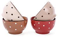 Пиала керамическая в горох Кофе-Крем, 500мл, 4 вида, набор 4 шт