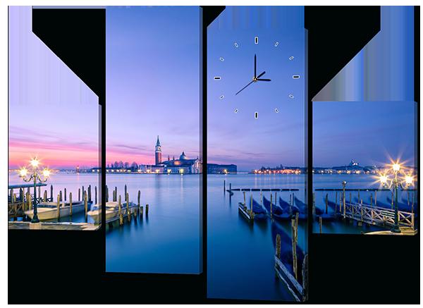 Модульная картина с часами Interno Эко кожа  Морской причал 146x108см (A426L)
