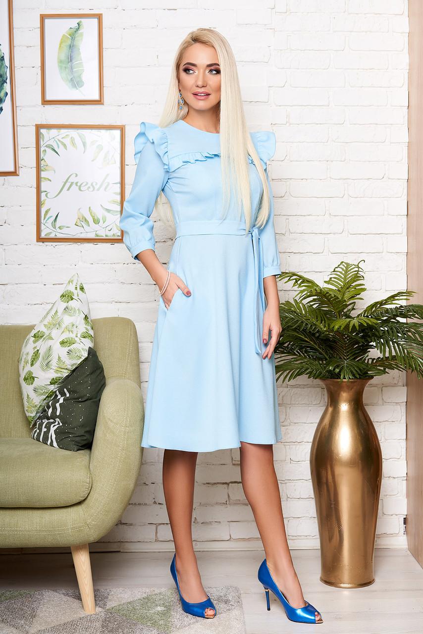 8e911bfc0a8 Красивое Голубое Платье Миди с Рюшами и Поясом — в Категории