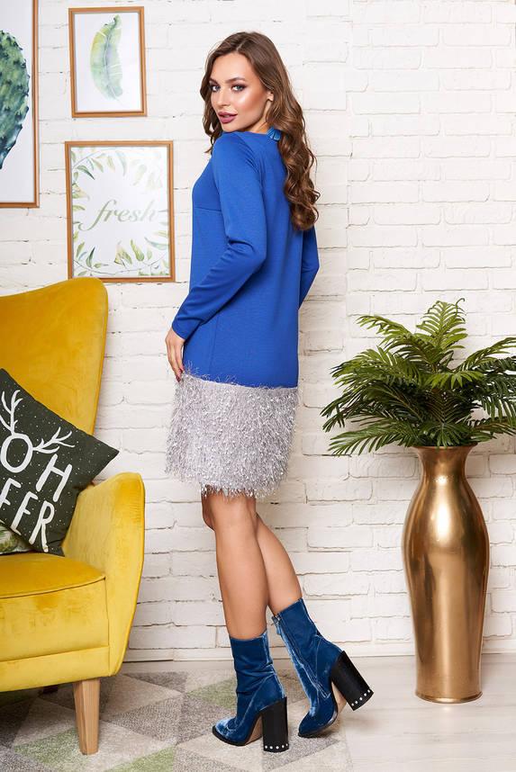 Красивое синее трикотажное платье с бусинами, фото 2