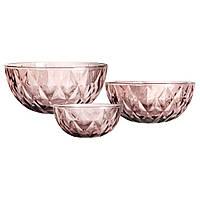 """Набор тарелок """"Изумуд"""" розовый,(большая - 22,5/9 см, средняя - 17,5/8 см, малая - 15/6 см)"""