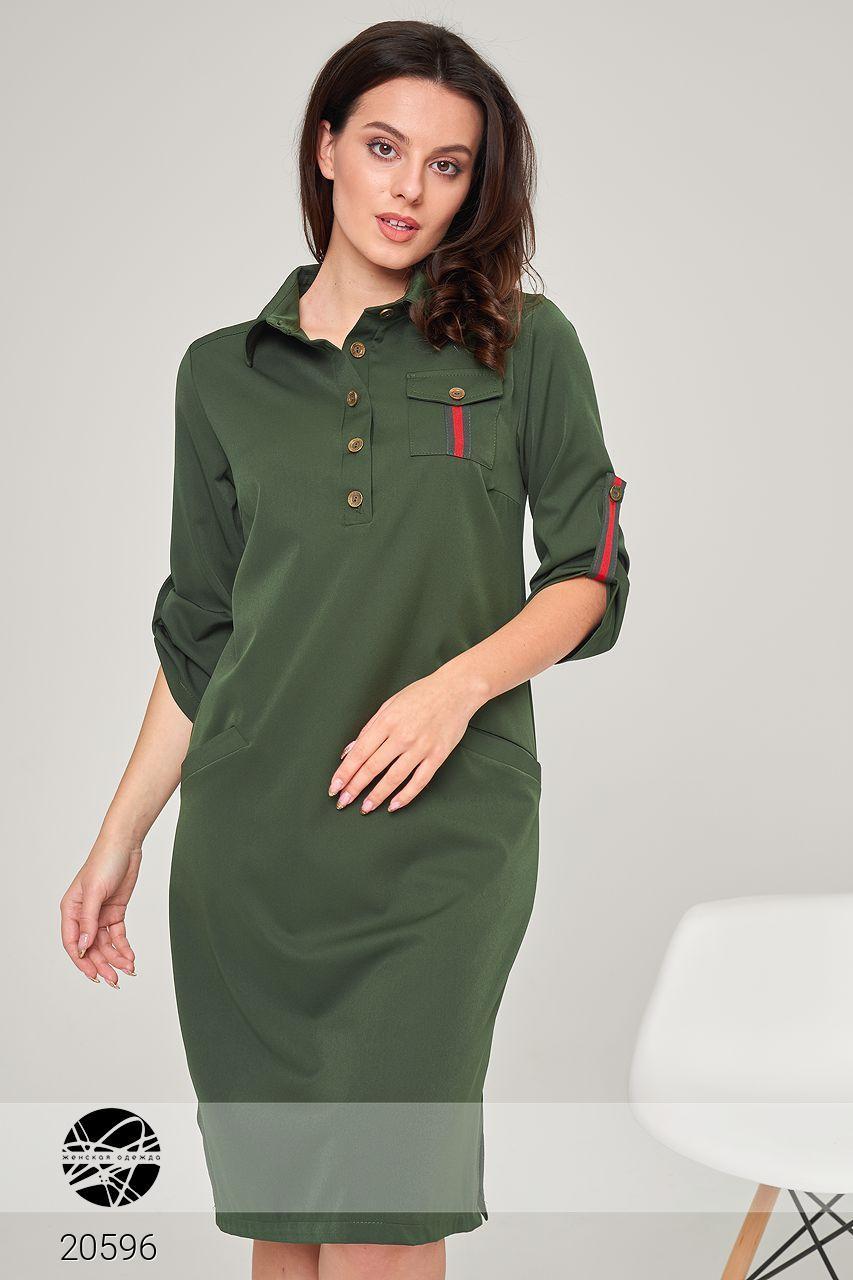 56086b49d0549df Платье-рубашка цвета хаки. Модель 20596. Размеры 42-60, цена 750 грн ...