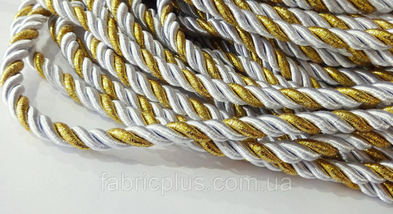 Шнур мебельный 10 мм люрекс белый/золото