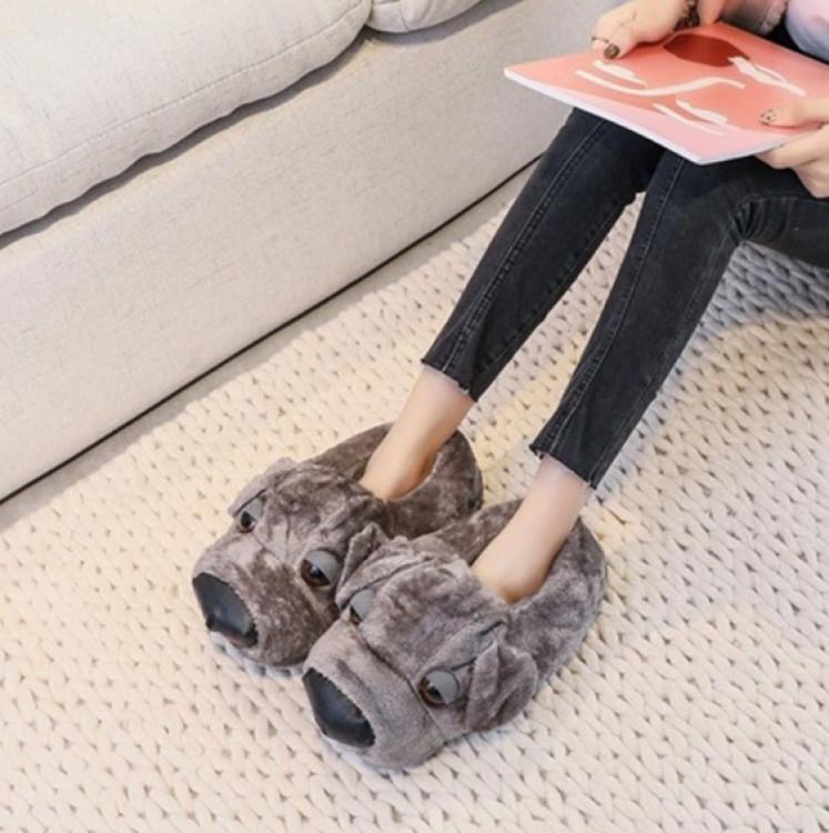Домашние тапочки Собака Grey