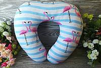 """Автомобильная подушка в дорогу для авто U образной формы """"Розовый фламинго"""" , 41 см * 34 см"""
