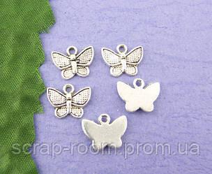 Подвеска металлическая бабочка серебро 10*13 мм