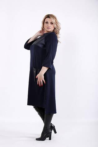 e2753cf1f Синее платье из трикотажа для полных женщин 01054: 720 грн. Купить в ...