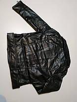 Куртка косуха детская демисезонная из экокожи унисекс черная  , фото 3