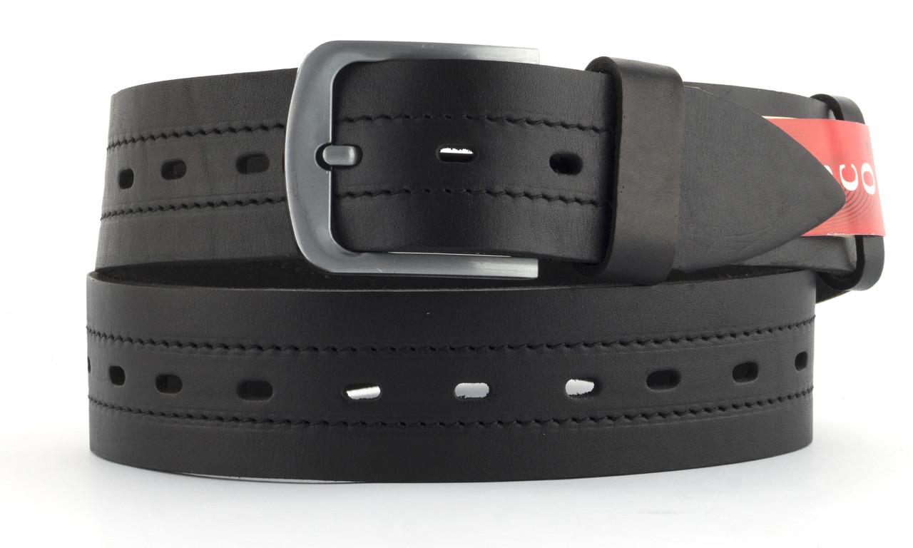 Качественный кожаный мужской ремень высокого качества MASCO 4.5 см Украина (103695) черный