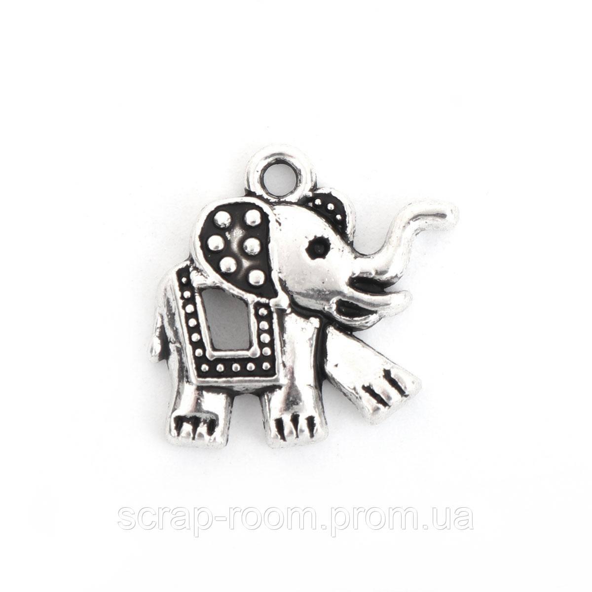 Подвеска металлическая слон серебро 18*17 мм