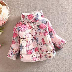 Куртка детская демисезонная  на девочку  с розами 1-4 года, фото 2