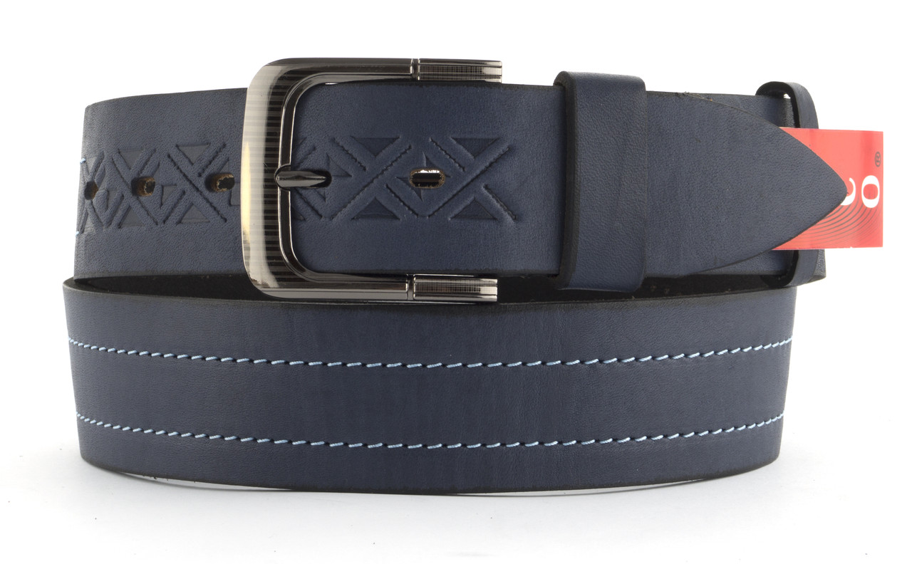 Качественный кожаный мужской ремень высокого качества MASCO 4.5 см Украина (103699) синий