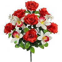 Букет искусственных цветов Роза c орхидеей , 55 см