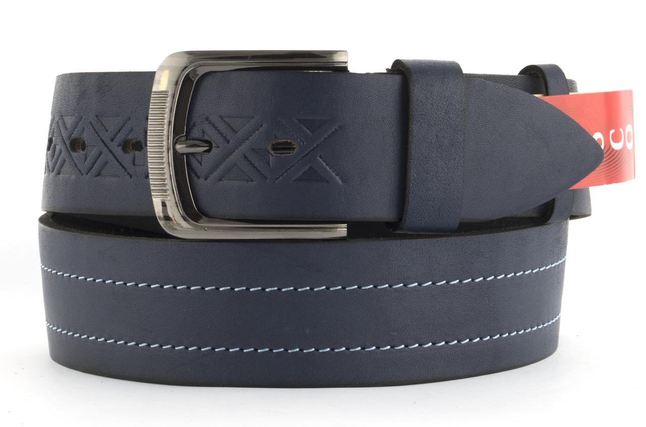 Качественный кожаный мужской ремень высокого качества MASCO 4.5 см Украина (103700) синий