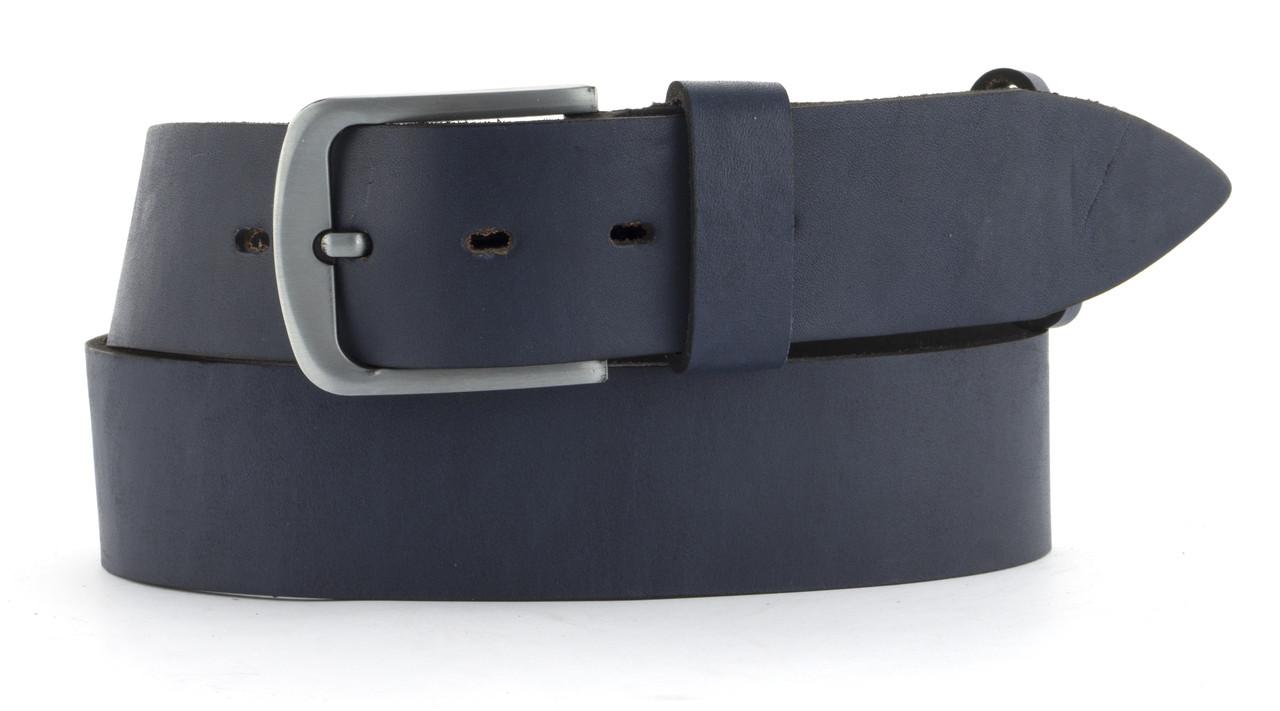 Качественный кожаный мужской ремень высокого качества MASCO 4.5 см Украина (103703) синий