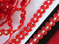 Тасьма Хвиля , 8 мм червоний фольгированной стрічкою