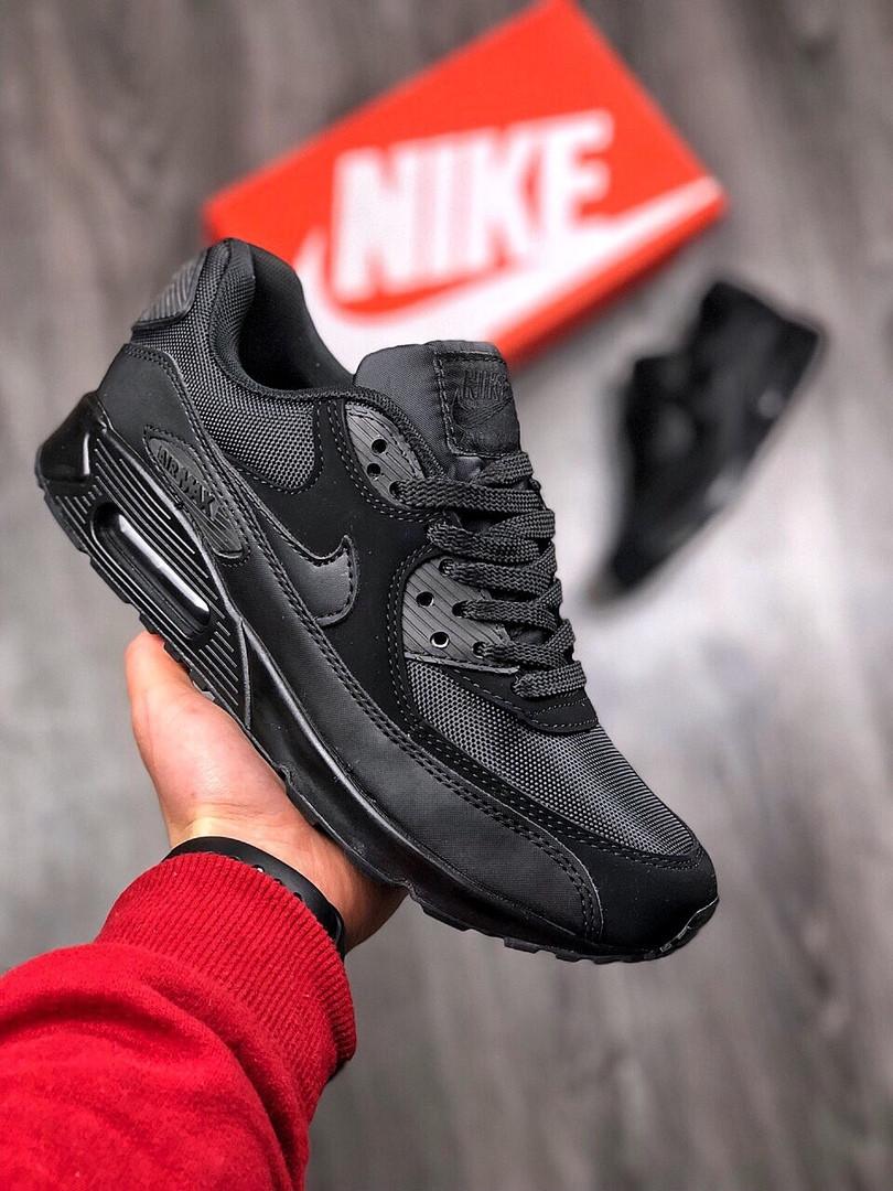 ce57a3ec Кроссовки мужские Nike Air Max 90 весенние удобные повседневные (черные),  ТОП-реплика