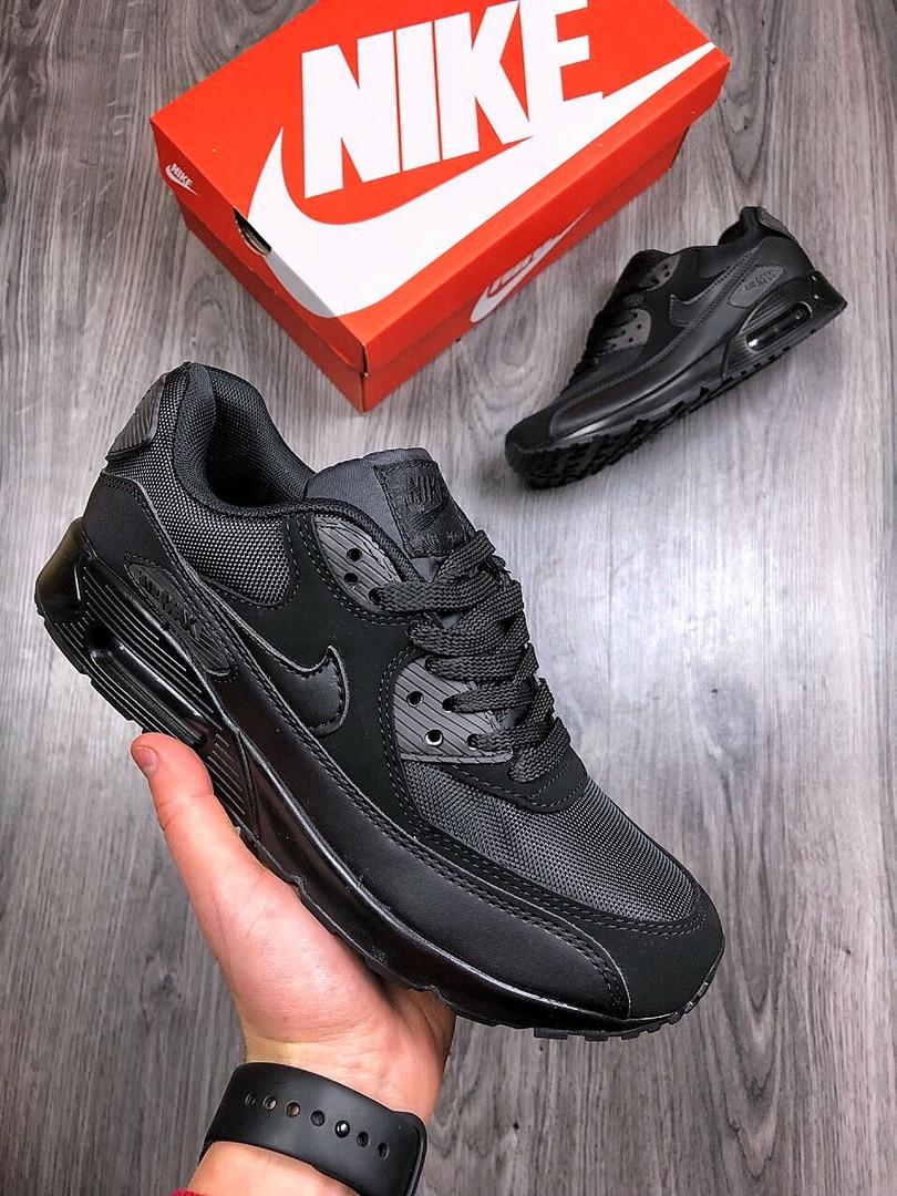 3cbbe756 ... Кроссовки мужские Nike Air Max 90 весенние удобные повседневные (черные),  ТОП-реплика ...