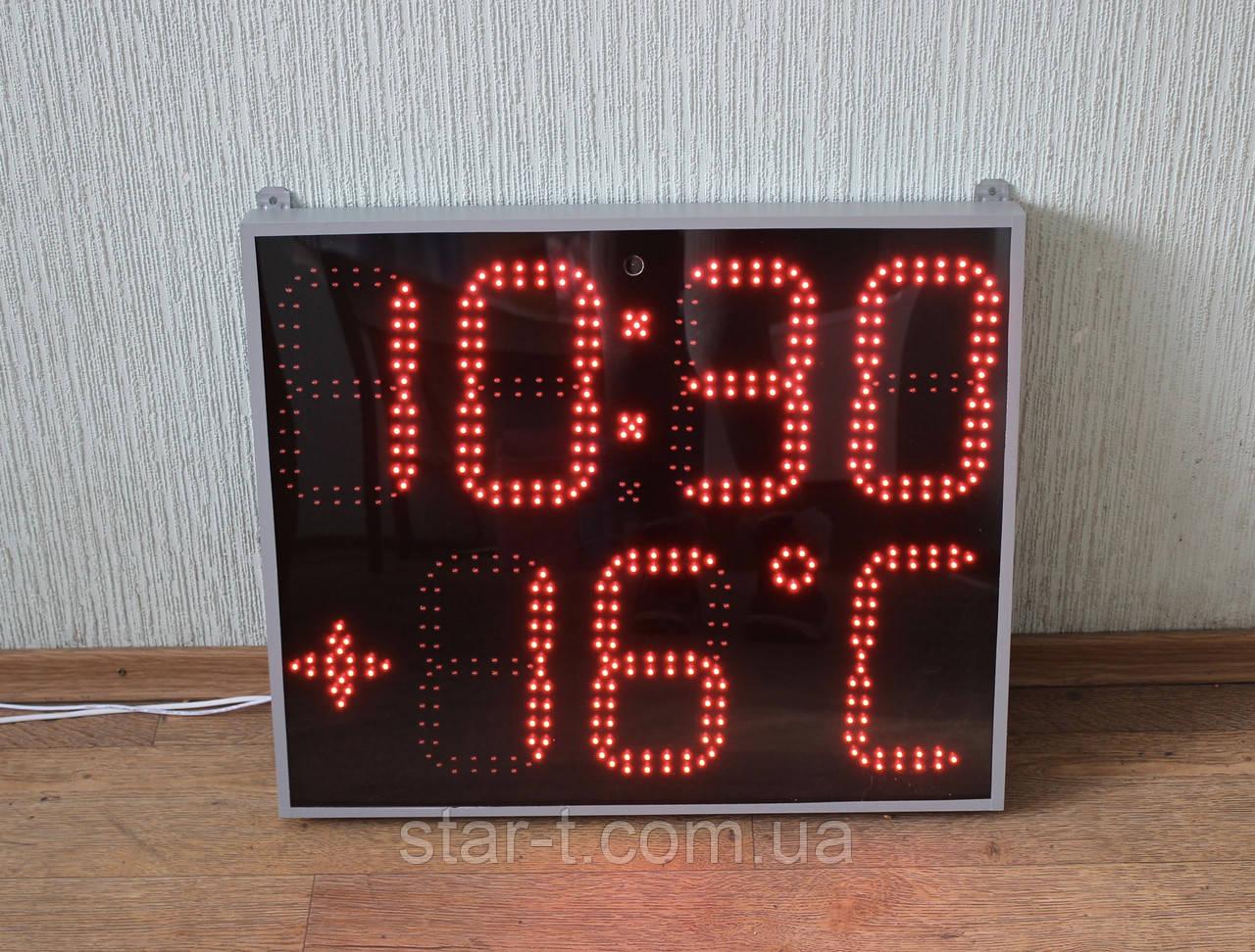 Светодиодные часы с термометром, красного цвета.