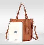 Трендова жіноча сумка JingPin 4 в 1 колір Чорний (сумка + клач +гаманець, косметичка+візитниця) AB-2, фото 4