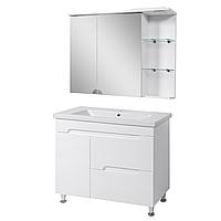Комплект мебели для ванной комнаты СИМПЛ 100 белый с умывальником Комо 100