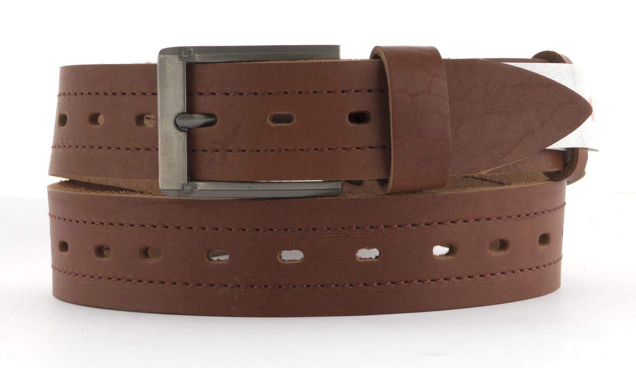 Качественный кожаный мужской ремень высокого качества MASCO 4 см Украина (103706) рыжий