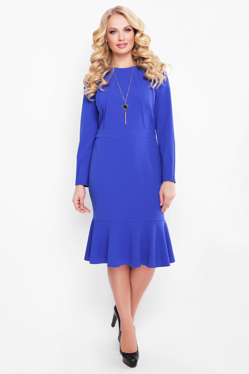 Жіноче плаття приталеного силуету, відрізне по лінії талії Ромі / колір електрик розмір 52-58