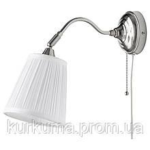 IKEA ARSTID Настенный светильник, никелированный, белый  (601.638.76)