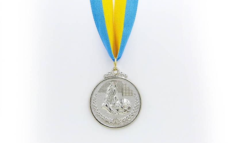 Медаль спорт d-5см C-7025-2 серебро Футбол (металл, 25g)
