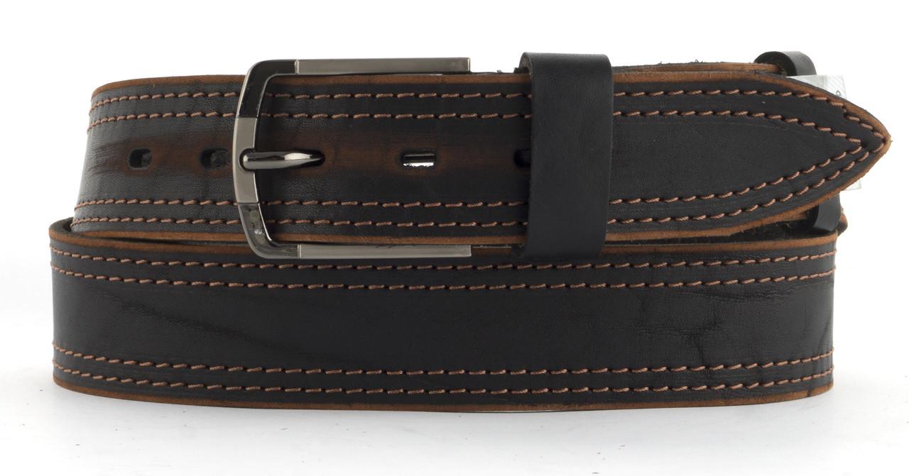 Качественный кожаный мужской ремень высокого качества MASCO 4 см Украина (103658) коричневый