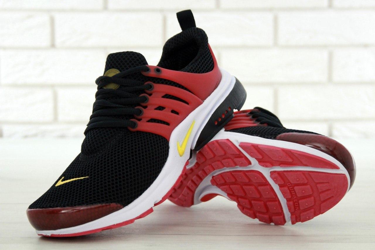 Мужские кроссовки Nike Air Presto. Черно-красные. Сетка. Пена