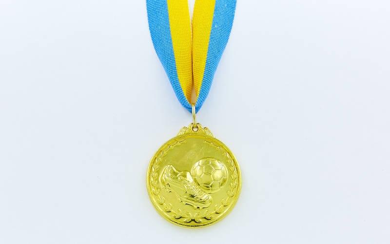 Медаль спорт d-5см C-7011-1 золото Футбол (металл, 25g)