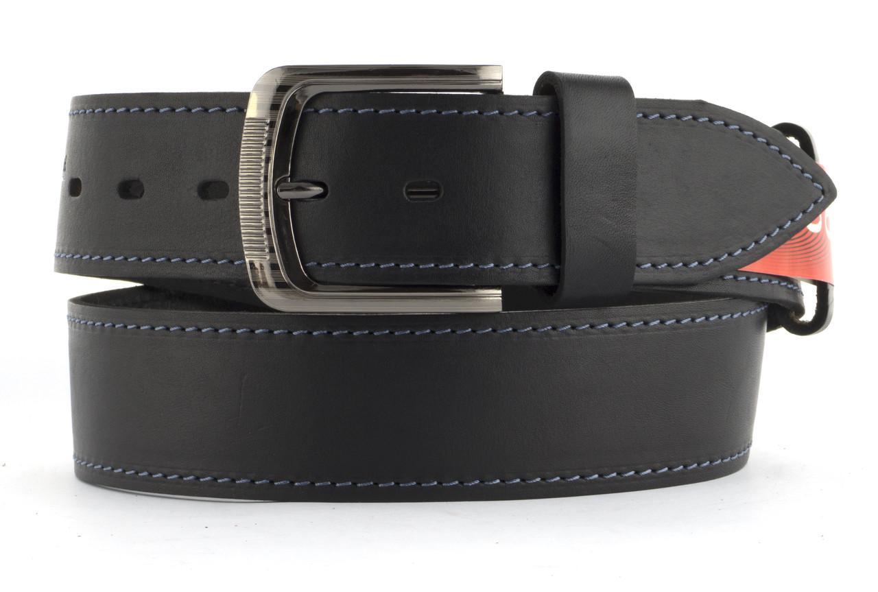 Качественный кожаный мужской ремень высокого качества MASCO 4.5 см Украина (103661) черный