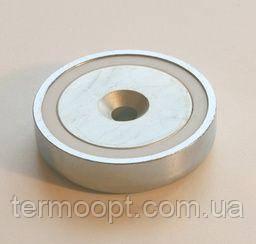 Магнит неодимовый А75 160кг 75мм * 18мм крепежный в корпусе с отверстием