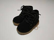 Ботинки детские демисезонные  нат мальчика из эко -замша черные, фото 2