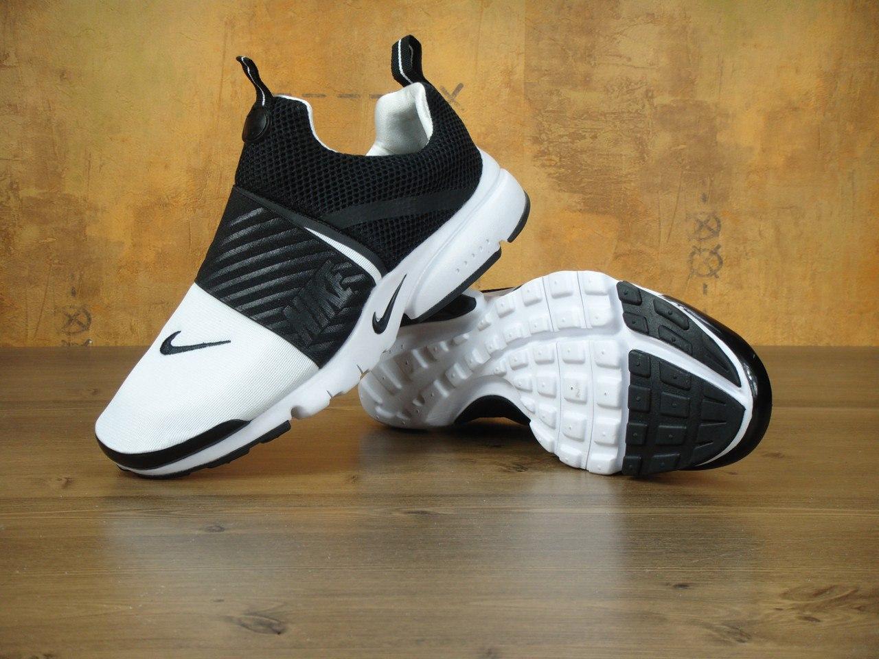 Мужские кроссовки Nike Air Presto. Черно-белые. Сетка. Пена