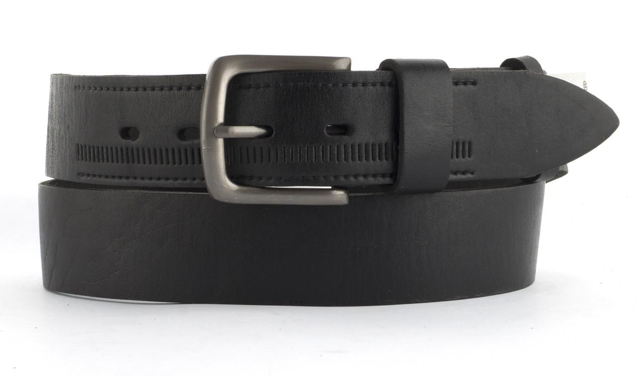 Качественный кожаный мужской ремень высокого качества MASCO 4 см Украина (103664) черный