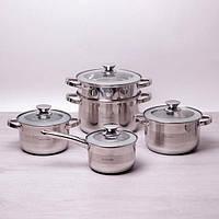 Набор посуды 9пр (ковш с кр. 2.1л,кастрюли с кр2.9л,3.9л,6.5л,пароварка 24см) ручки из нержавеющей стали