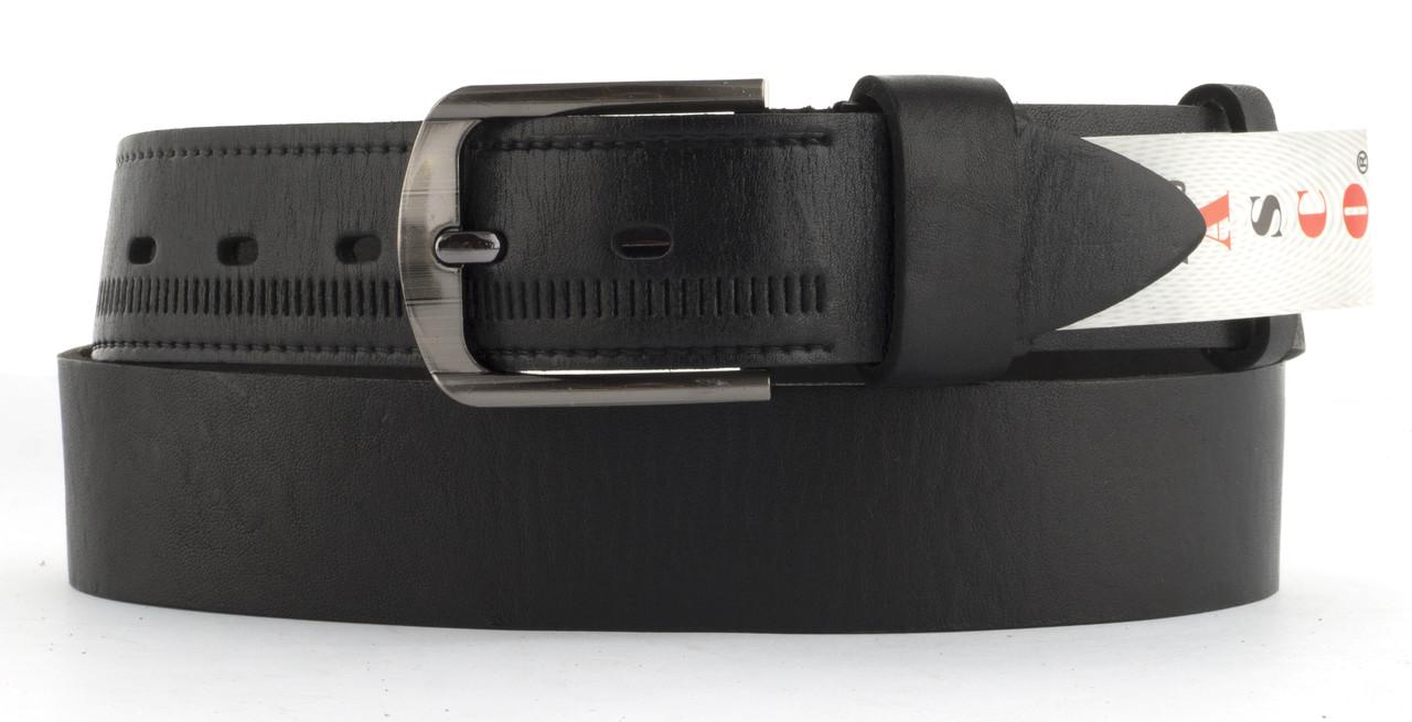 Качественный кожаный мужской ремень высокого качества MASCO 4 см Украина (103666) черный