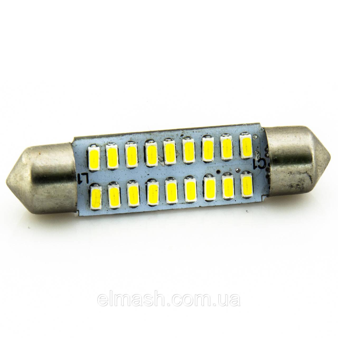 Лампа LED 12V AC (C5W) 18SMD 3014 42мм 280Lm БЕЛЫЙ