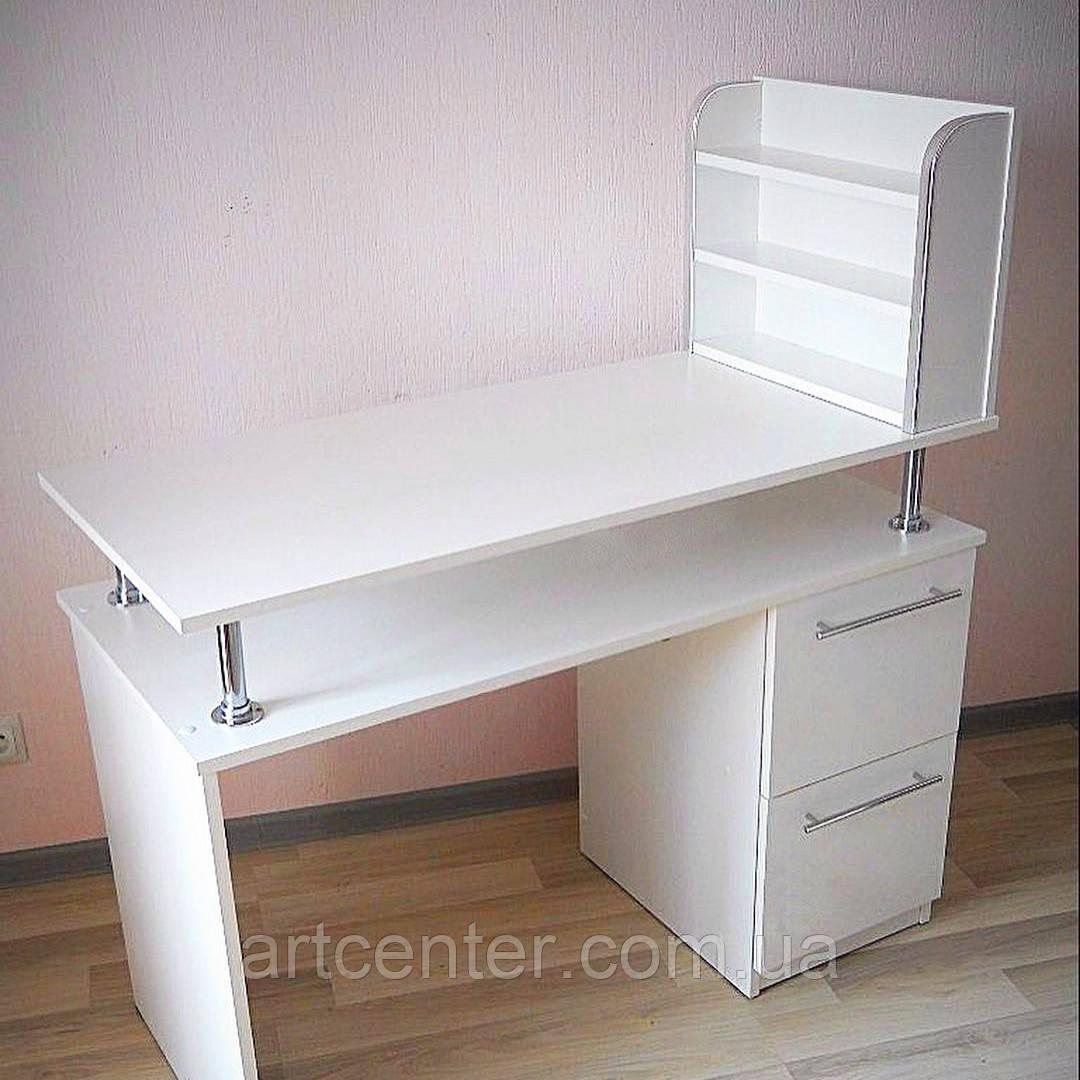 Маникюрный стол белого цвета с витриной для лаков, стол для маникюра