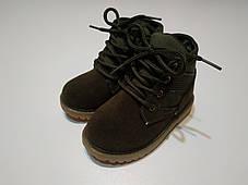 Ботинки детские демисезонные  нат мальчика из эко -замша зеленые, фото 3