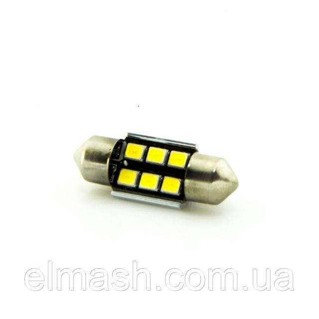 Лампа LED 12V AC (C5W) 6SMD 2835 36мм обманка 540Lm БЕЛЫЙ, фото 1