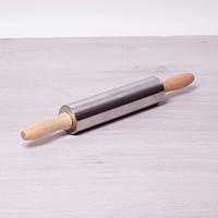 Скалка Ø5*38см с вращающимся валиком из нержавеющей стали и деревянными ручками