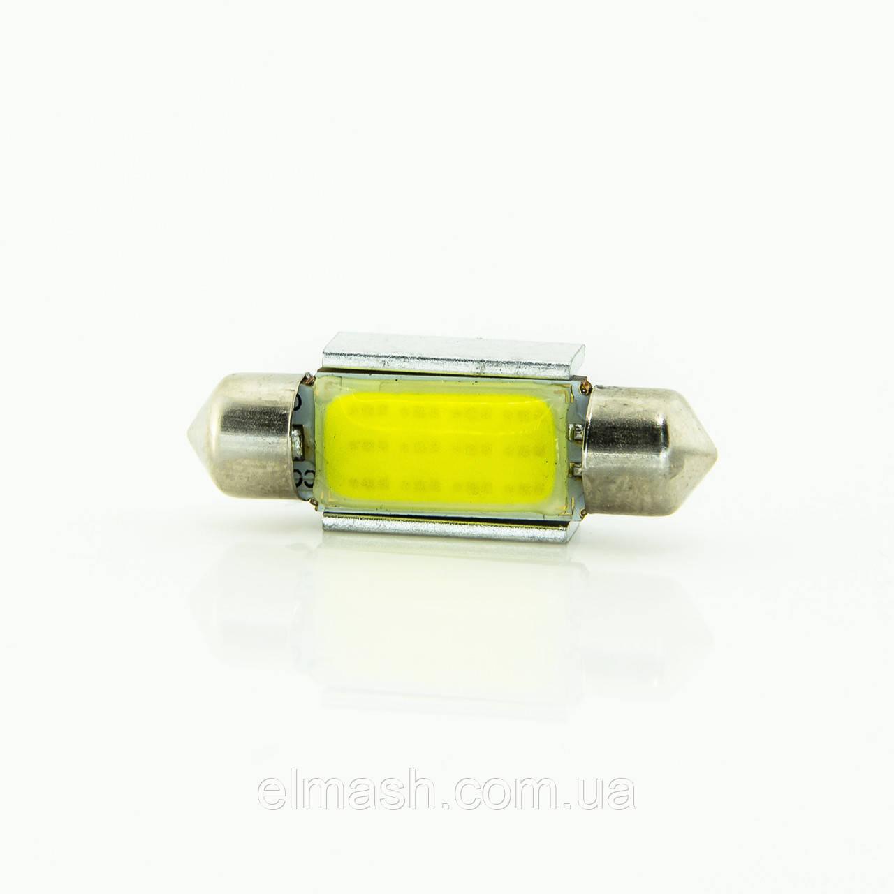 Лампа LED 12V АС (C5W) 12LED COB 36mm обманка 75Lm БЕЛЫЙ