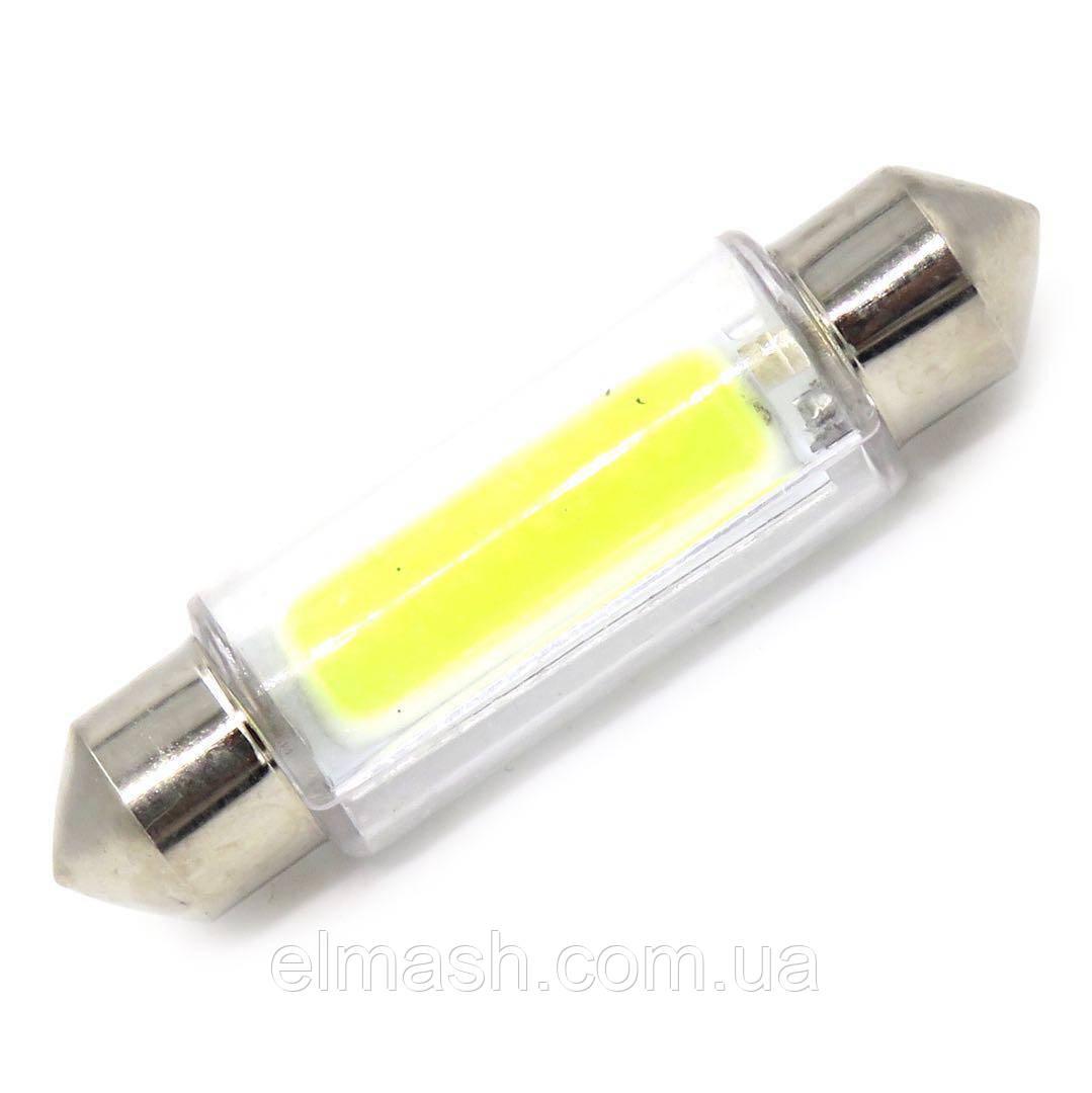Лампа LED 12V АС (C5W)  COB стекло 36mm 50Lm БЕЛЫЙ