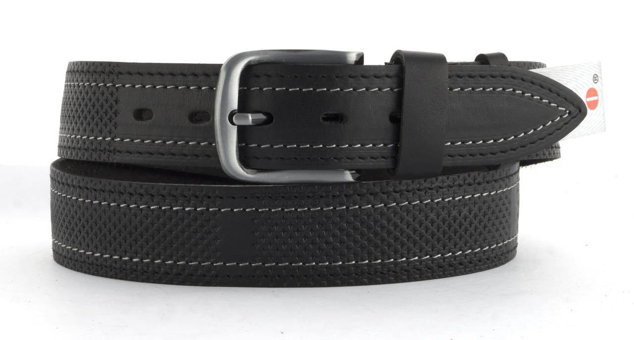 Качественный кожаный мужской ремень высокого качества MASCO 4 см Украина (103713) черный