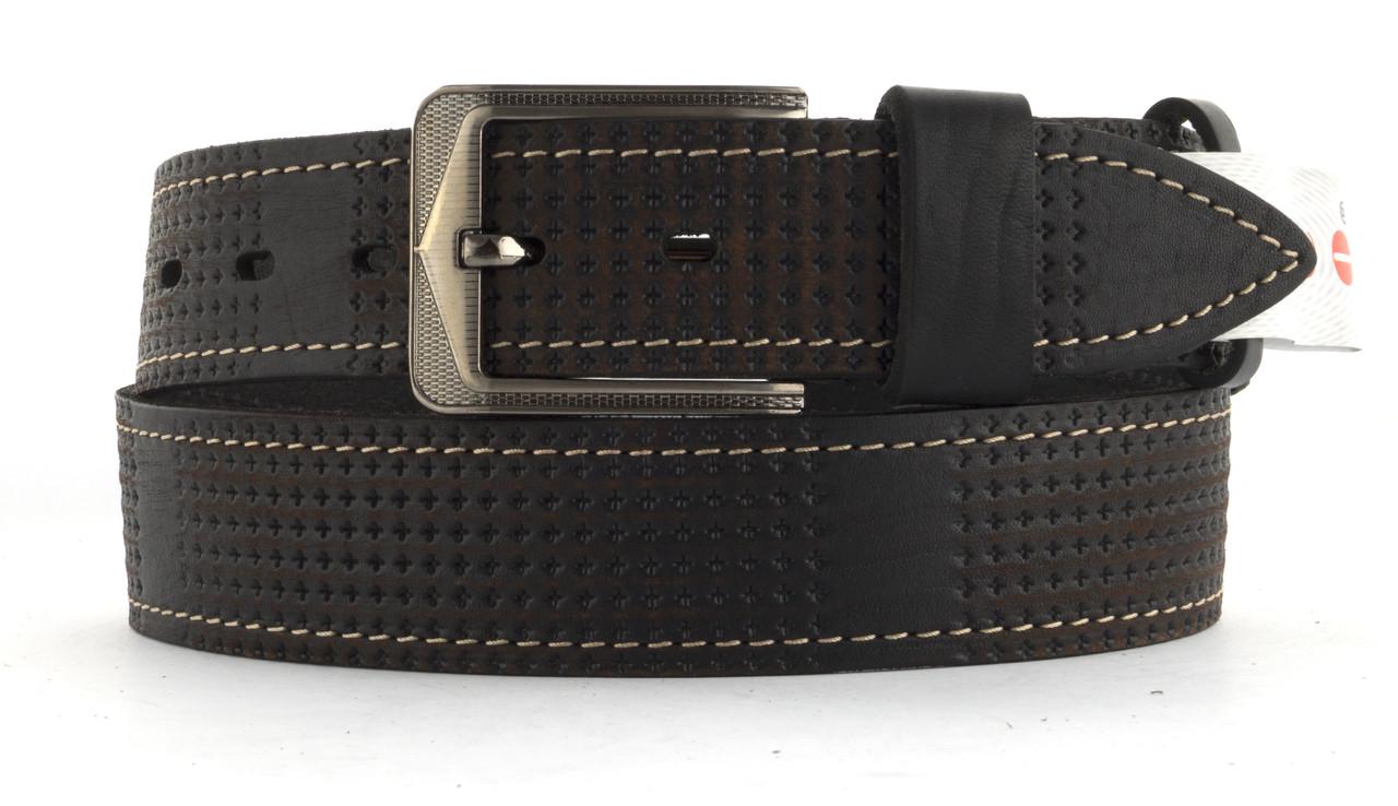 Качественный кожаный мужской ремень высокого качества MASCO 4 см Украина (103714) коричневый