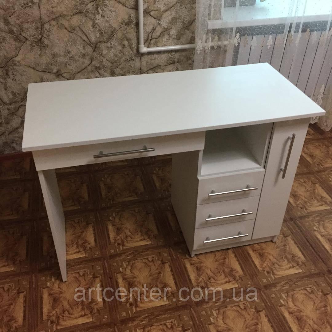 Стол для маникюра с ящиком карго, маникюрный стол белый, с ящиками