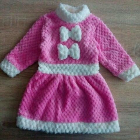 Платье детское Снегурочка. Новогоднее платье для девочки на рост 74 см розовое